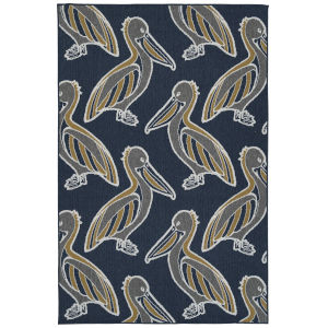 Puerto Navy Bird Rectangular: 3 Ft.6 In. x 5 Ft.6 In. Rug
