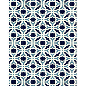 Puerto White Pattern Rectangular: 7 Ft.2 In. x 10 Ft.5 In. Rug
