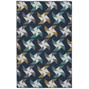 Puerto Navy Multicolor Rectangular: 3 Ft.6 In. x 5 Ft.6 In. Rug