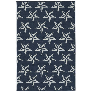Puerto Navy Star Rectangular: 3 Ft.6 In. x 5 Ft.6 In. Rug