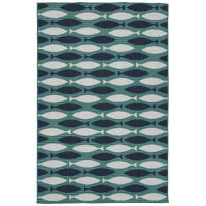 Puerto Blue Pattern Rectangular: 3 Ft.6 In. x 5 Ft.6 In. Rug