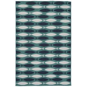 Puerto Blue Pattern Rectangular: 5 Ft. x 7 Ft.6 In. Rug