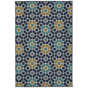 Puerto Navy Flower Rectangular: 3 Ft.6 In. x 5 Ft.6 In. Rug