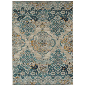 Zuma Beach Turquoise Blue Rectangular: 9 Ft.3 In. x 12 Ft. Rug