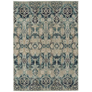 Zuma Beach Blue Pattern Rectangular: 5 Ft.3 In. x 7 Ft.3 In. Rug