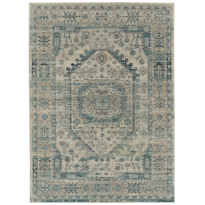 Zuma Beach Turquoise Gray Rectangular: 5 Ft.3 In. x 7 Ft.3 In. Rug