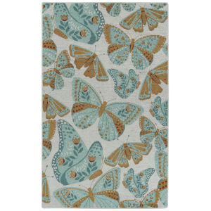 Critter Comforts Light Blue and Rust 5 Ft. x 8 Ft. Area Rug