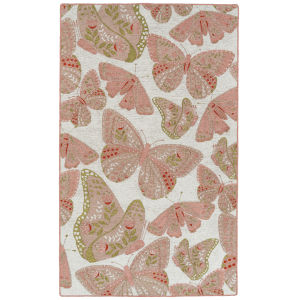 Critter Comforts Pink and White 2 Ft. x 3 Ft. Throw Rug