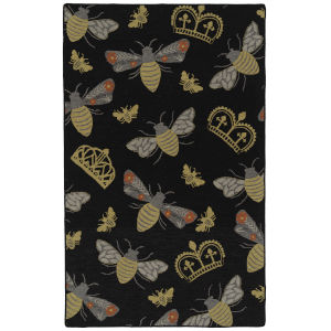 Critter Comforts Black and Gold 5 Ft. x 8 Ft. Area Rug