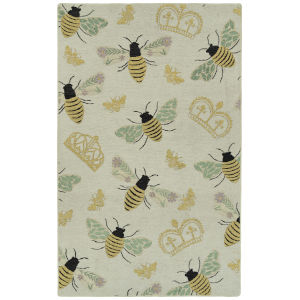 Critter Comforts White and Gold 5 Ft. x 8 Ft. Area Rug