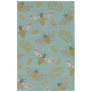Critter Comforts Light Blue and Gold 5 Ft. x 8 Ft. Area Rug