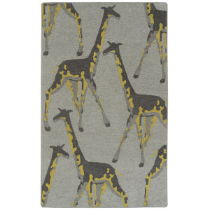 Forever Fauna Gray and Yellow 5 Ft. x 8 Ft. Area Rug