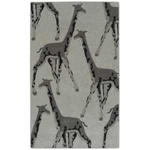 Forever Fauna Gray and Black 5 Ft. x 8 Ft. Area Rug