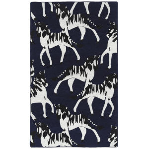 Forever Fauna Navy and White 5 Ft. x 8 Ft. Area Rug