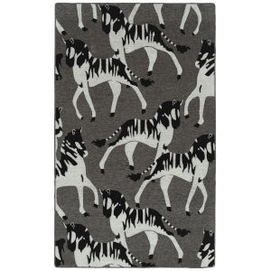 Forever Fauna Charcoal and Gray 5 Ft. x 8 Ft. Area Rug