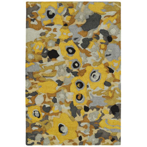 Flora Fantasies Yellow and Gray 5 Ft. x 8 Ft. Indoor/Outdoor Rug