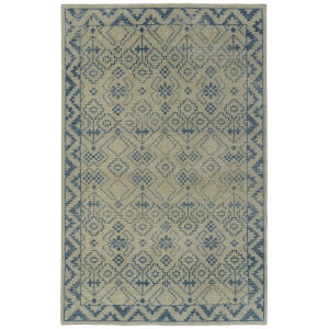 Knotted Earth Blue and Ivory 2 Ft. x 3 Ft. Throw Rug