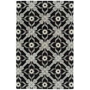 Peranakan Tile Black and Silver 5 Ft. x 8 Ft. Indoor/Outdoor Rug