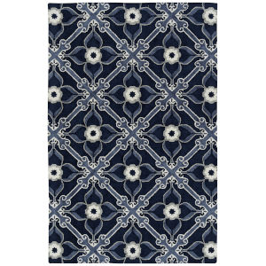 Peranakan Tile Denim and Ivory 5 Ft. x 8 Ft. Indoor/Outdoor Rug