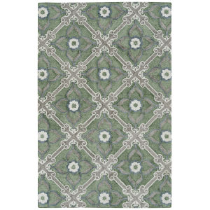 Peranakan Tile Sage and Ivory 5 Ft. x 8 Ft. Indoor/Outdoor Rug