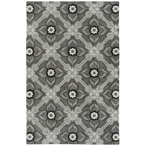 Peranakan Tile Gray, Silver and Black 5 Ft. x 8 Ft. Indoor/Outdoor Rug
