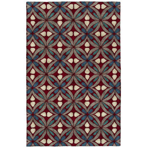 Peranakan Tile Red and Denim 5 Ft. x 8 Ft. Indoor/Outdoor Rug
