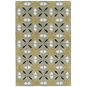 Peranakan Tile Gold and Gray 5 Ft. x 8 Ft. Indoor/Outdoor Rug