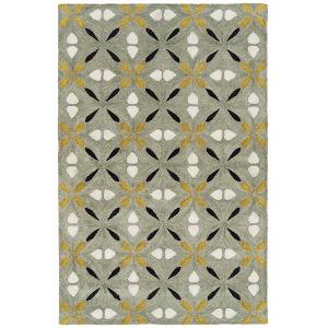 Peranakan Tile Gold and Gray 9 Ft. 6 In. x 13 Ft. Indoor/Outdoor Rug