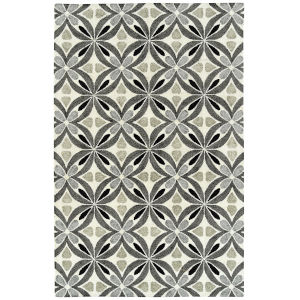 Peranakan Tile Gray, Black and Ivory 5 Ft. x 8 Ft. Indoor/Outdoor Rug