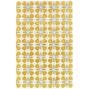 Peranakan Tile Yellow and Gray 5 Ft. x 8 Ft. Indoor/Outdoor Rug