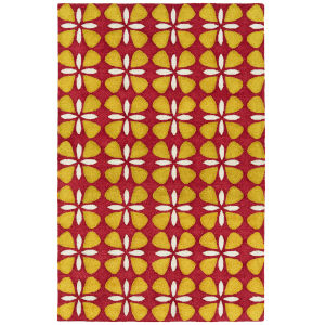 Peranakan Tile Red and Yellow 5 Ft. x 8 Ft. Indoor/Outdoor Rug