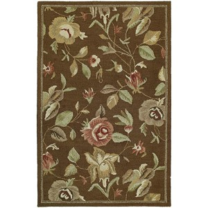 Khazana Chocolate and Olive Green Rectangular: 9 Ft. 6 In. x 13 Ft. Rug