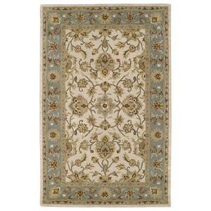 Khazana Ivory and Tealish Green Rectangular: 9 Ft. 6 In. x 13 Ft. Rug