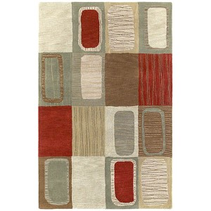 Khazana Salsa and Olive Green Rectangular: 9 Ft. 6 In. x 13 Ft. Rug