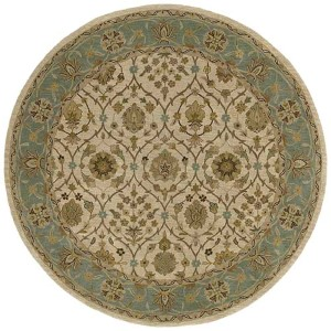 Tara Rounds Ivory and Beige Round: 11 Ft. 9 In. Rug