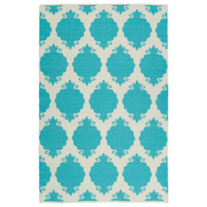 Brisa Ivory and Turquoise Rectangular: 2 Ft x 3 Ft Rug