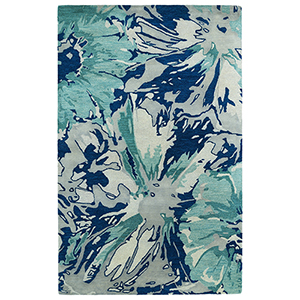 Brushstrokes Blue Hand-Tufted 9Ft. 6In x 13Ft. Rectangle Rug