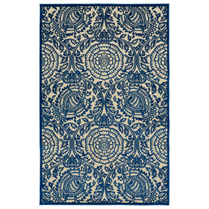 A Breath of Fresh Air  Navy and Beige Rectangular: 2 Ft 1 In x 4 Ft Rug