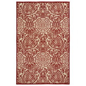 A Breath of Fresh Air  Red and Beige Rectangular: 2 Ft 1 In x 4 Ft Rug