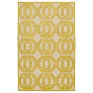 A Breath of Fresh Air  Gold and Beige Rectangular: 2 Ft 1 In x 4 Ft Rug