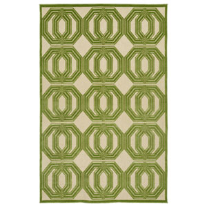 A Breath of Fresh Air  Green and Beige Rectangular: 5 Ft x 7 Ft 6 In Rug