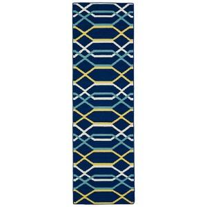 Glam Navy GLA01 Runner: 2 Ft. 6 In. x 8 Ft. Rug