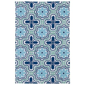 Matira Ivory and Navy Rectangular: 5 Ft. x 7 Ft. 6 In. Rug