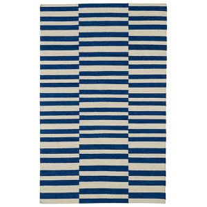 Nomad Navy and Beige Rectangular: 5 Ft. x 8 Ft. Rug