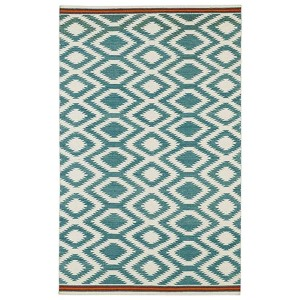 Nomad Turquoise and Brick Red Rectangular: 5 Ft. x 8 Ft. Rug