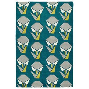 Origami Teal Rectangular: 2 Ft. x 3 Ft.
