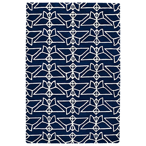 Origami Navy Rectangular: 2 Ft. x 3 Ft.