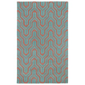 Revolution Pink and Teal Rectangular: 5 Ft. x 7 Ft. 9 In. Rug