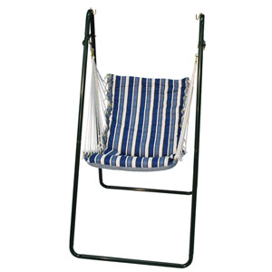 Bronze Swing Chair with Tropical Palm Stripe Blue and Norway Powder Blue Fabric Cushion