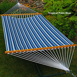 Tropical Palm Stripe Blue Print 11 Ft. Hammock